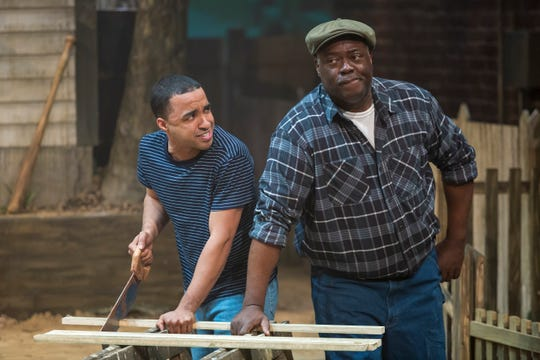 """Crystian Wilshire (L) and """"ranney"""" play Cory and Troy Maxson, respectively, in director Christopher V. Edwards' production of """"Fences,"""" playing at the Cincinnati Shakespeare Company through Feb. 16."""