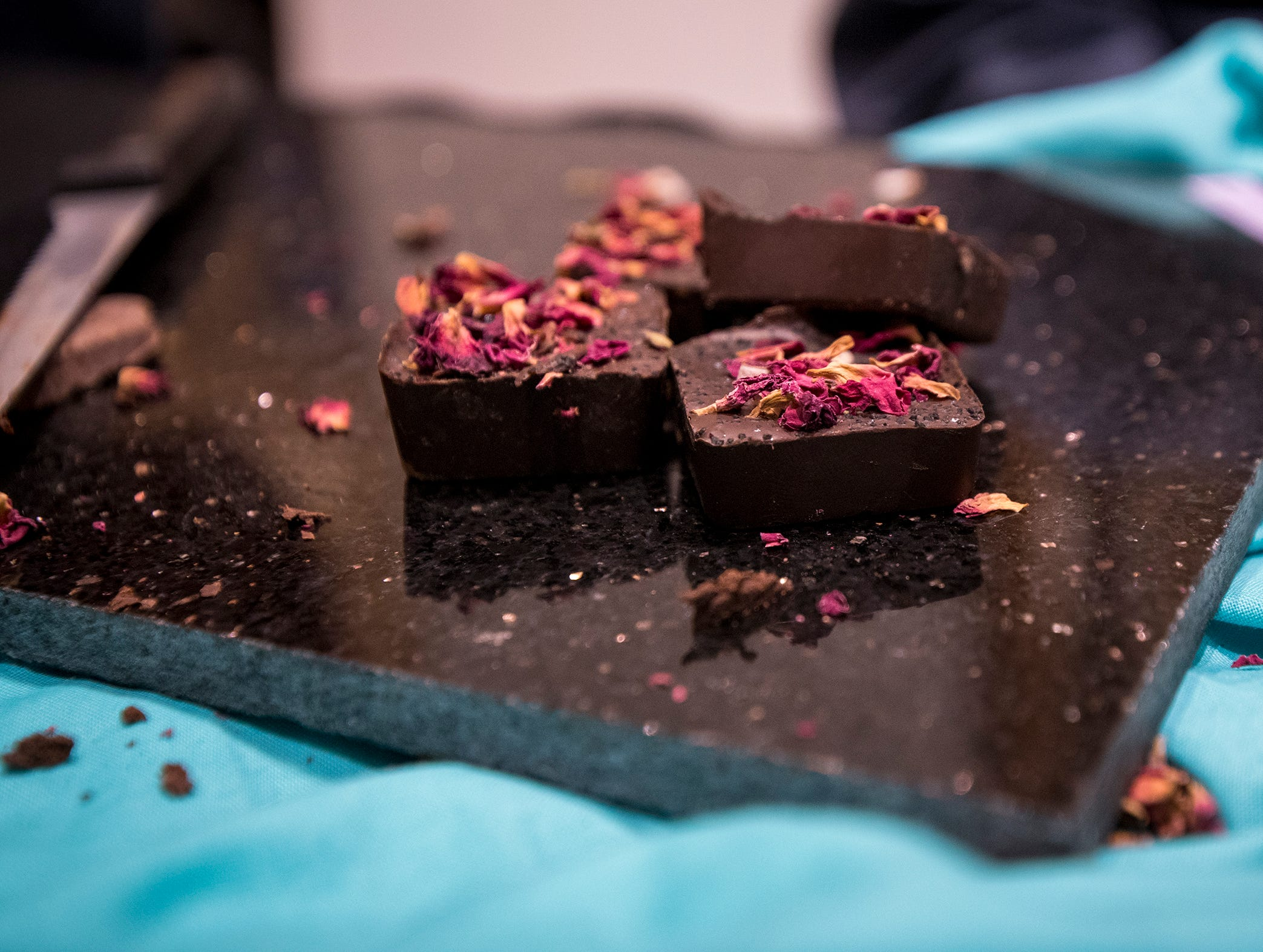 Samples of Delicieux vegan chocolate are available for guests during Art After Dark at the Cincinnati Art Museum Friday, January 25, 2019 in Cincinnati, Ohio.