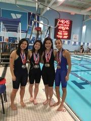 JP Stevens 200 medley relay team (left to right) Stephanie Chiu, Michelle Kong, Jenna Yan, Anushree Ghate
