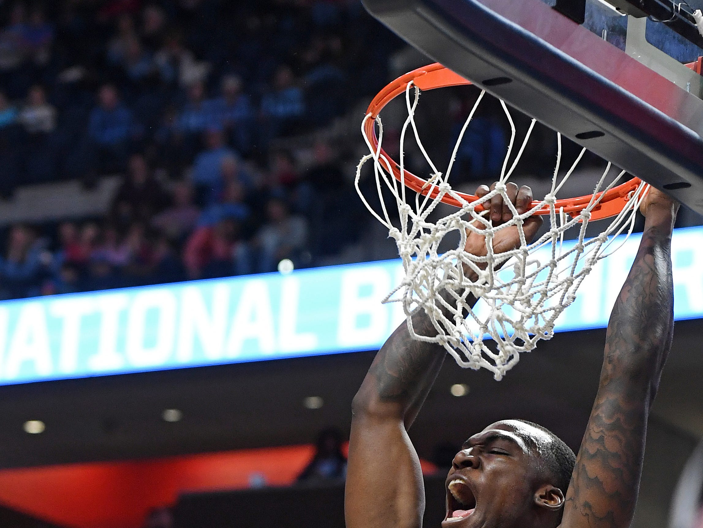 Iowa State forward Cameron Lard (2) dunks the ball over Mississippi guard Devontae Shuler (2) during the second half of an NCAA college basketball game in Oxford, Miss., Saturday, Jan. 26, 2019. Iowa State won 87-73.