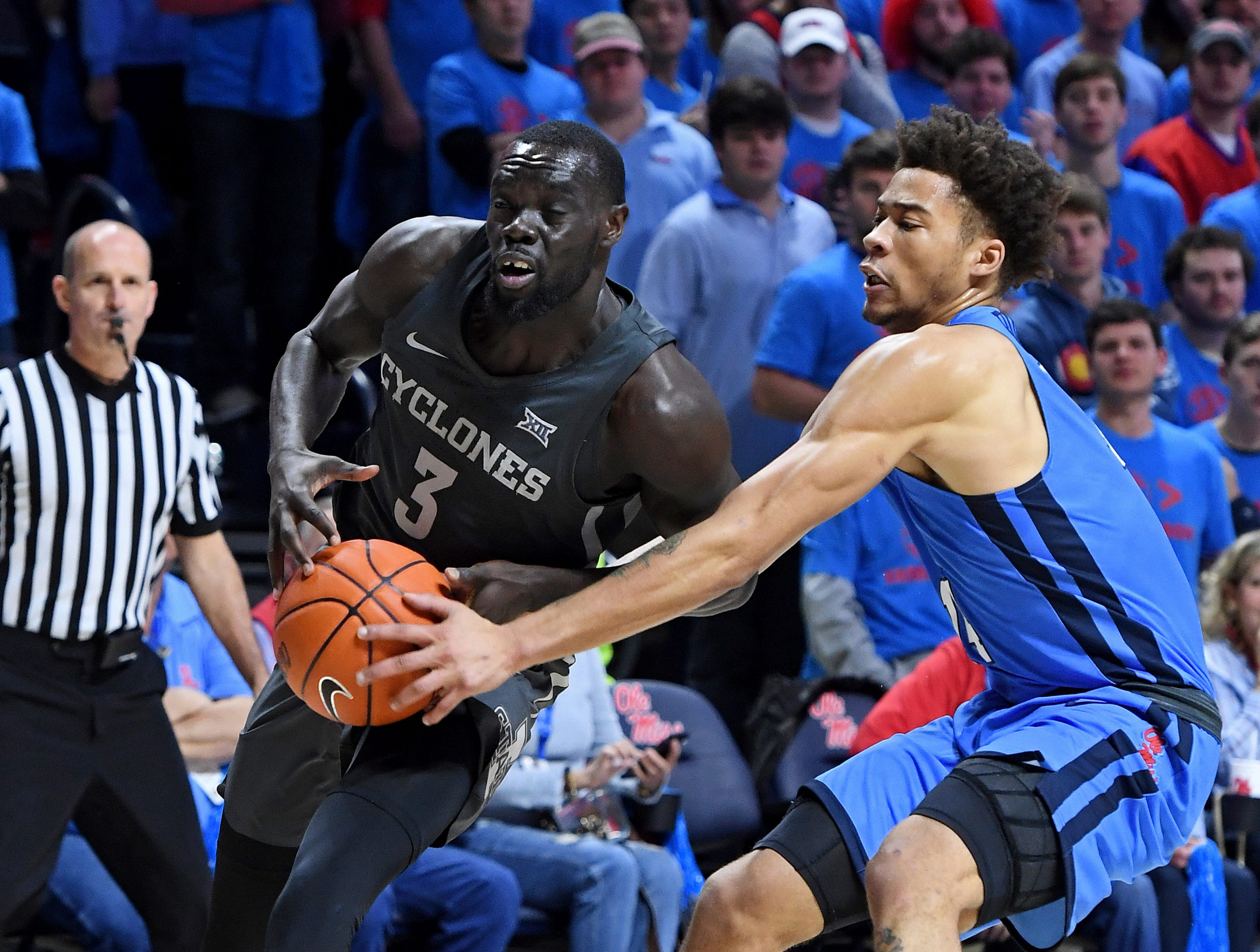 Mississippi forward KJ Buffen (14) guards Iowa State guard Marial Shayok (3) during the first half of an NCAA college basketball game in Oxford, Miss., Saturday, Jan. 26, 2019.