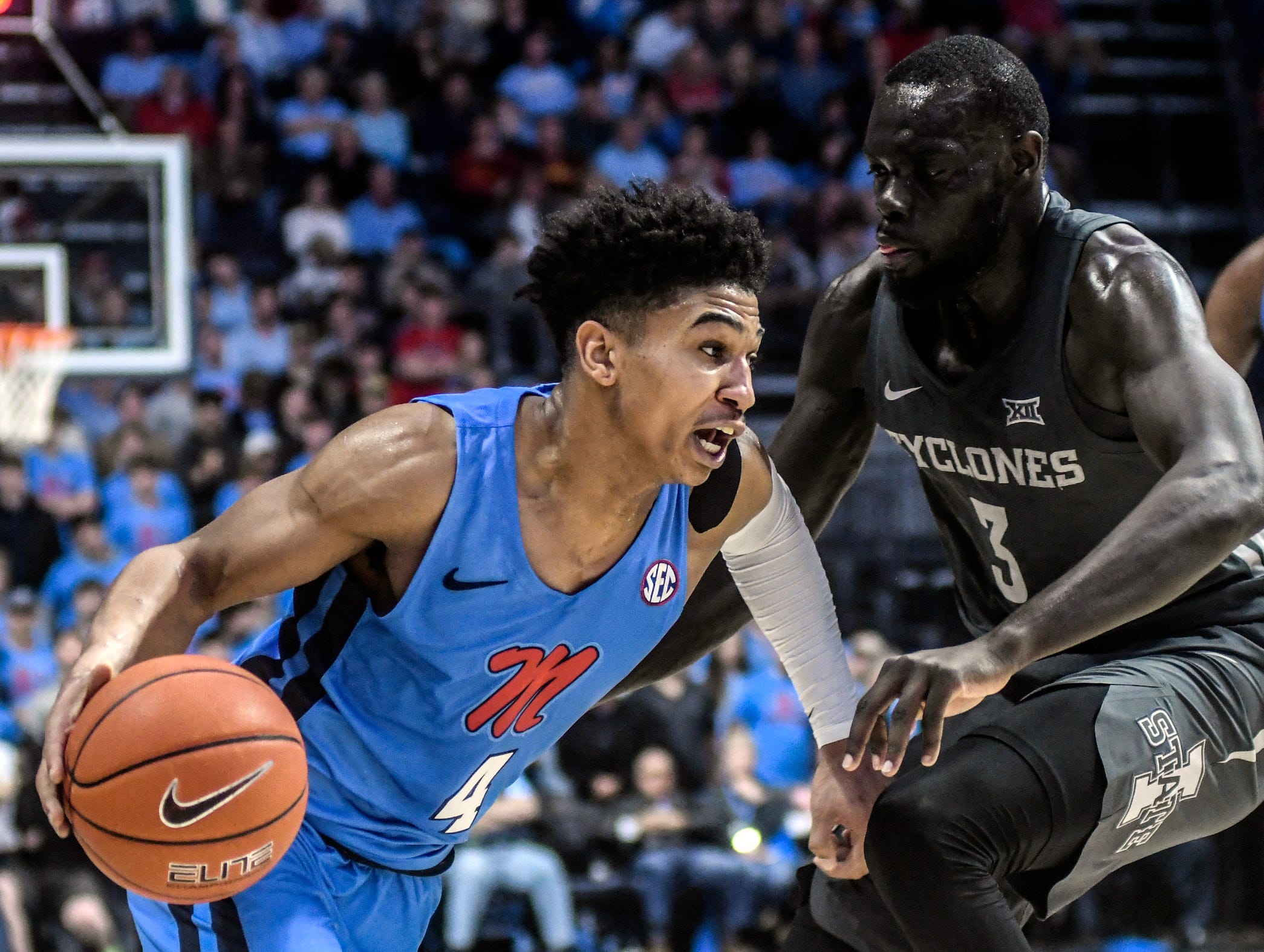 Mississippi guard Breein Tyree (4) drives against Iowa State guard Marial Shayok (3) during an NCAA college basketball game Saturday, Jan. 26, 2019, in Oxford, Miss.