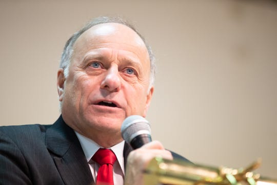 Congressman Steve King takes questions during a town hall meeting in Primghar Saturday, Jan. 26, 2019.