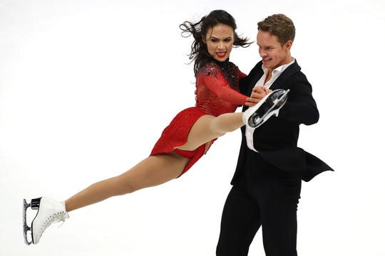 Madison Chock and Evan Bates compete in the Championship Rhythm Dance during the 2019 U.S. Figure Skating Championships at Little Caesars Arena on January 25, 2019 in Detroit, Michigan.