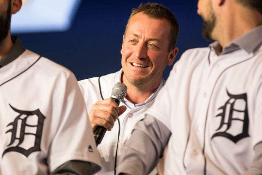 Tigers' Jordan Zimmerman answers a question during the Detroit Tigers Winter Caravan at the 2019 North American International Auto Show at Cobo Center in Detroit on Friday, Jan. 25, 2019.