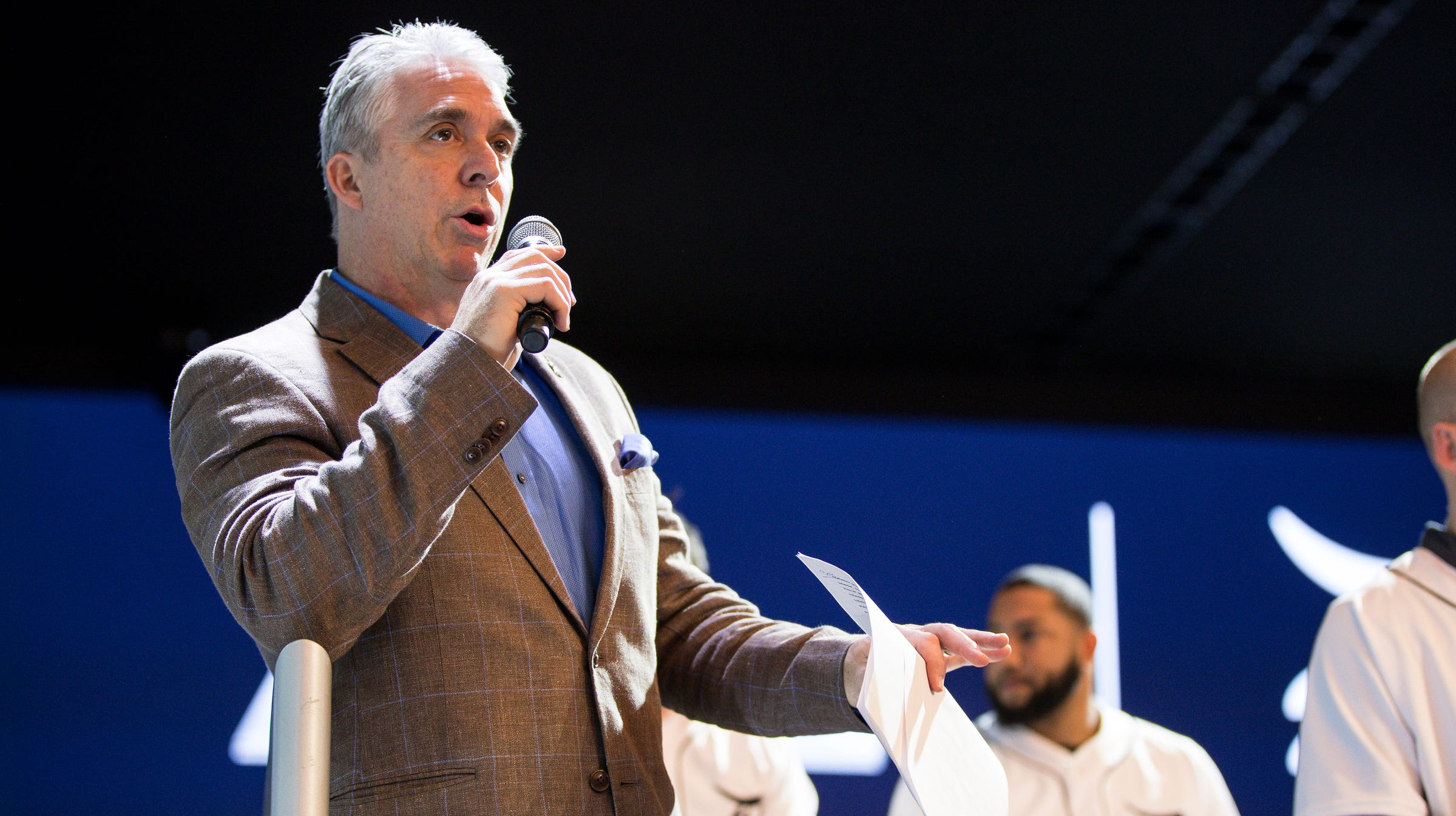Detroit Tigers play-by-play voice Matt Shepard speaks during the Detroit Tigers Winter Caravan at the 2019 North American International Auto Show  at Cobo Center in Detroit on Friday, January 25, 2019.