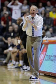 Michigan coach John Beilein encourages his team during the second half against Indiana, Friday, Jan. 25, 2019, Bloomington, Ind.