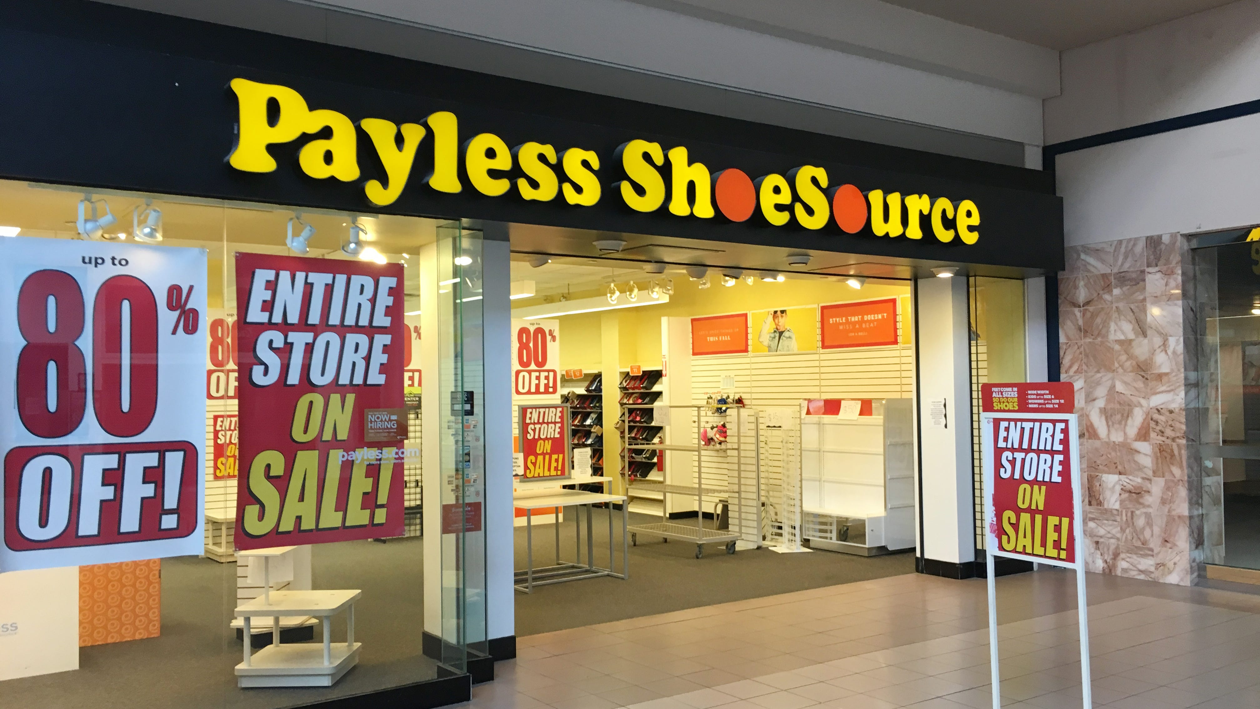 The Payless Shoe Source store is Midland Mall is going out of business