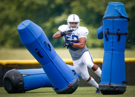 Indianapolis Colts linebacker Trevor Bates at training camp Aug. 4, 2016.