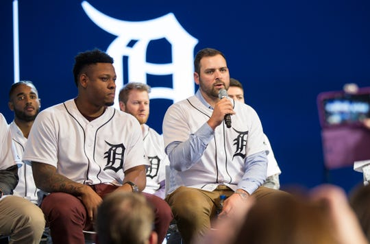 Michael Fulmer answers a question during the Tigers Winter Caravan at the Auto Show at Cobo Center in Detroit on Friday.