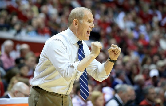 Michigan coach John Beilein gives instructions to his team against Indiana on Jan. 25, 2019 in Bloomington, Ind.