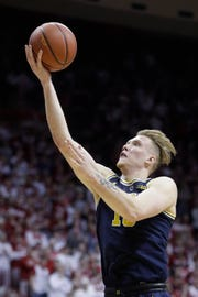 Ignas Brazdeikis shoots during the first half against Indiana on Friday in Bloomington, Ind.