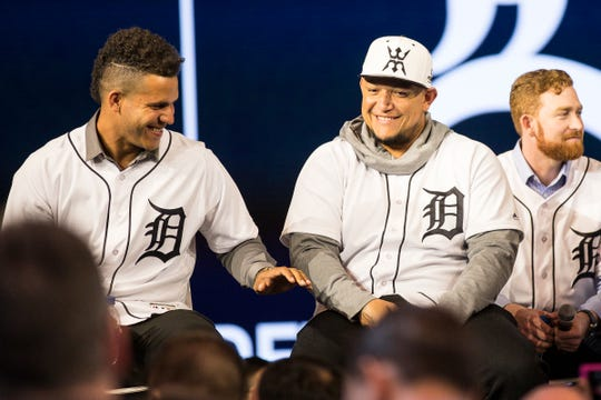 Tigers' Jose Fernandez, left, and Miguel Cabrera laugh on stage during the Winter Caravan at the 2019 North American International Auto Show at Cobo Center, Jan. 25.