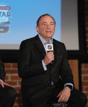 NHL Commissioner Gary Bettman speaks during a press conference during the NHL All Star Week.
