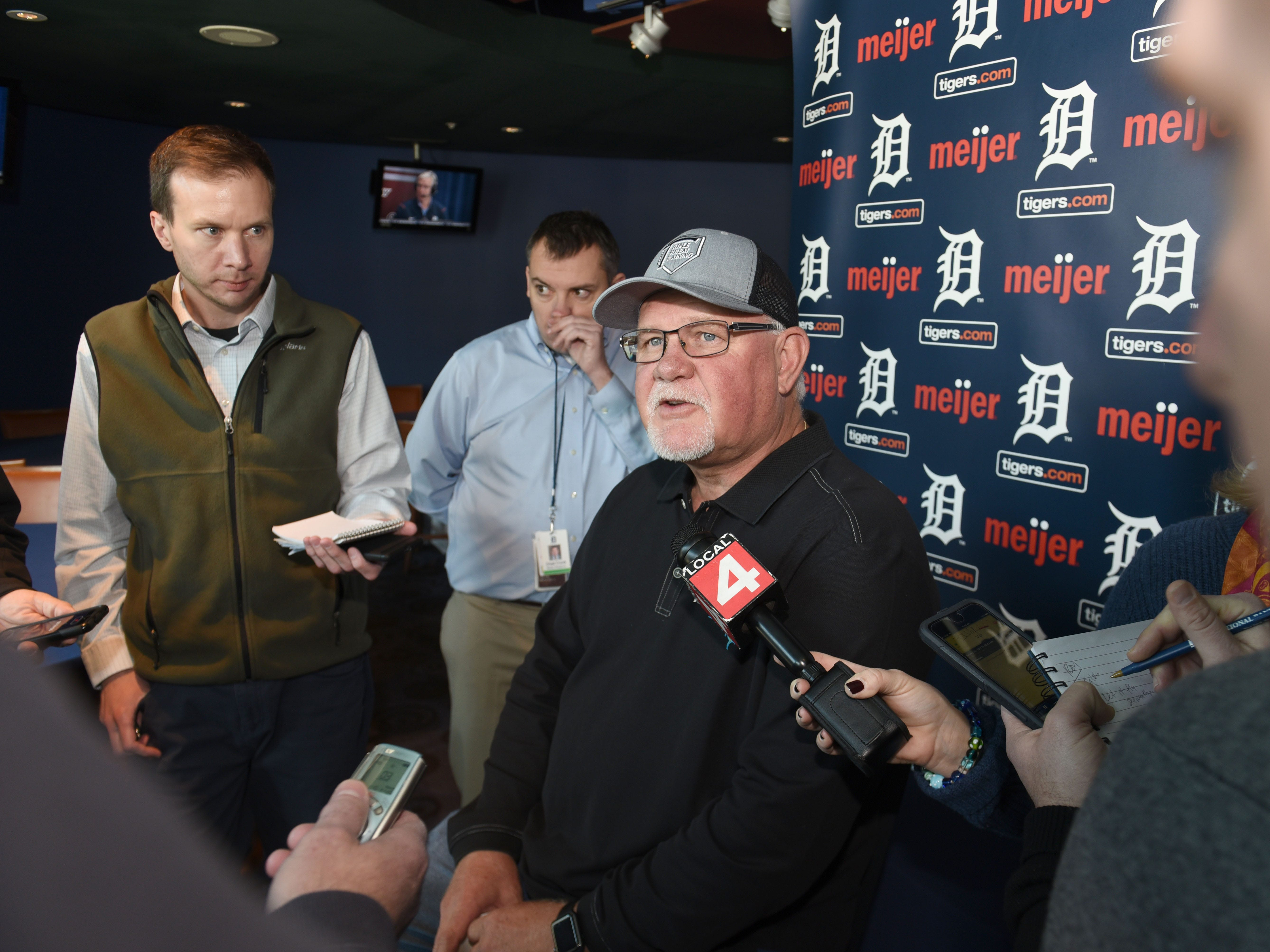 Detroit Tigers head coach Ron Gardenhire speaks to members of the news media during TigerFest 2019.
