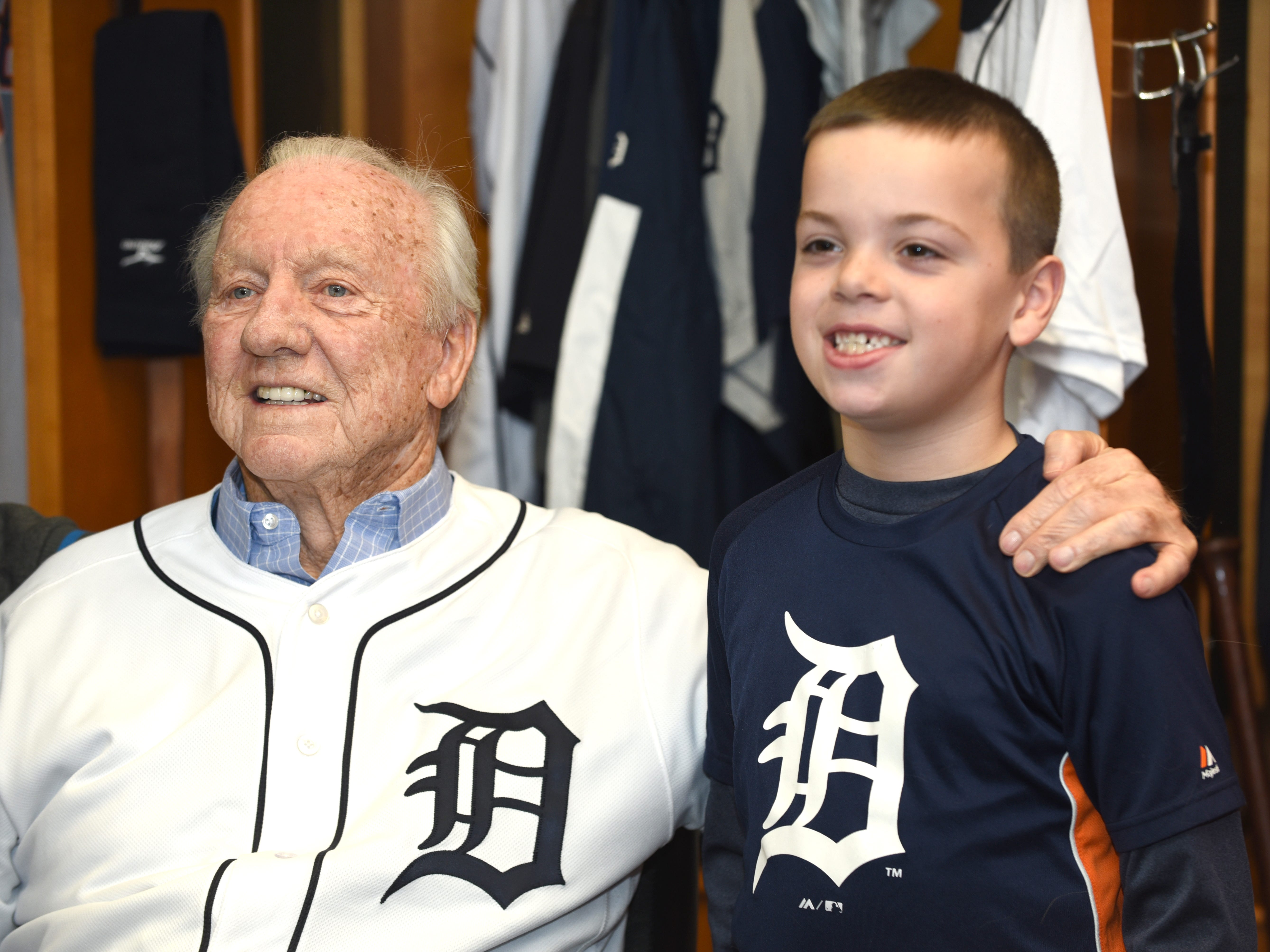 Detroit Tigers Al Kaline takes a picture with Nick Giorgi of Troy during TigerFest 2019 at Comerica Park.