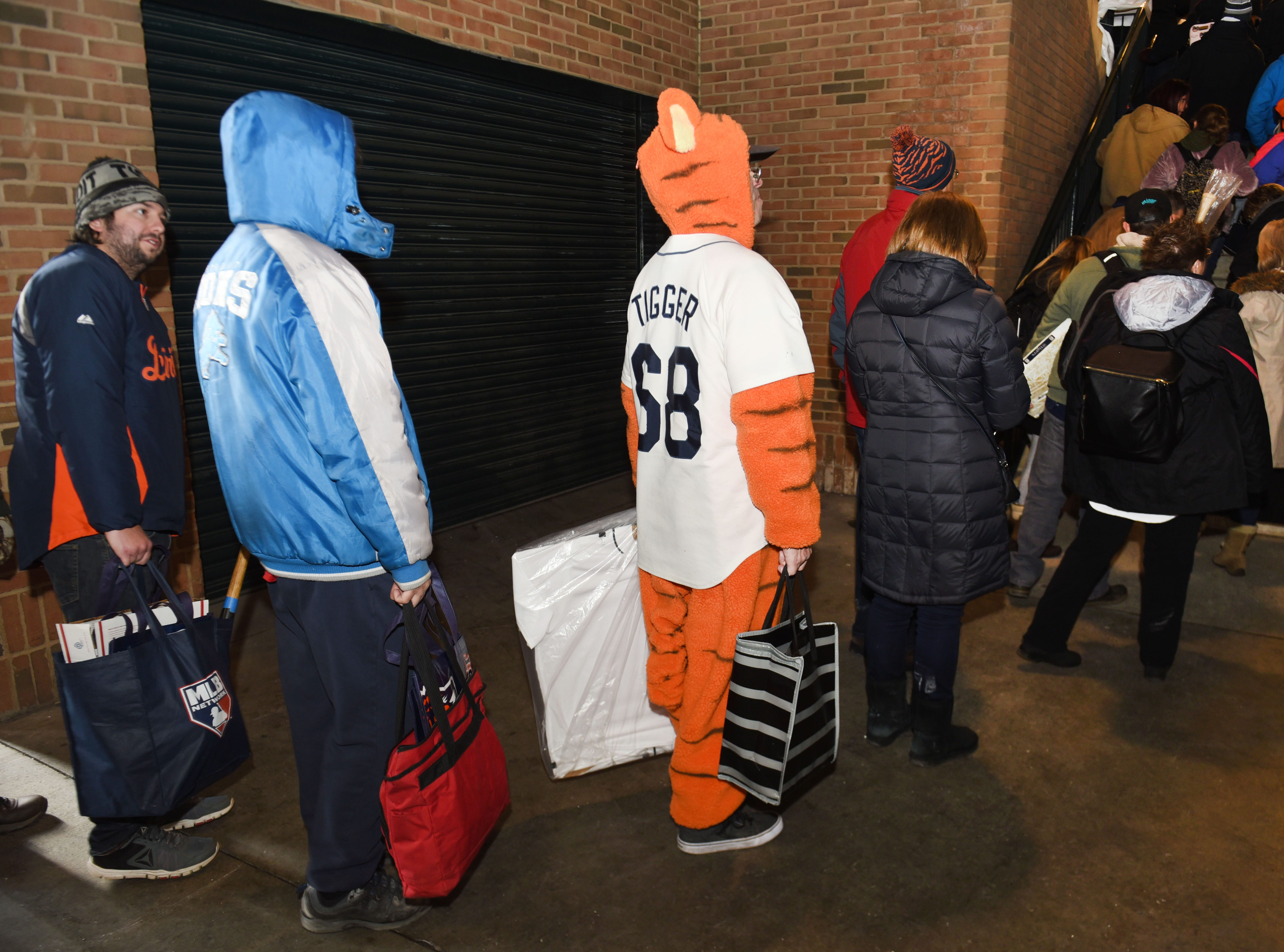 Steve Piippo of Dearborn Heights wears his Tigger uniform at Comerica Park for TigerFest.