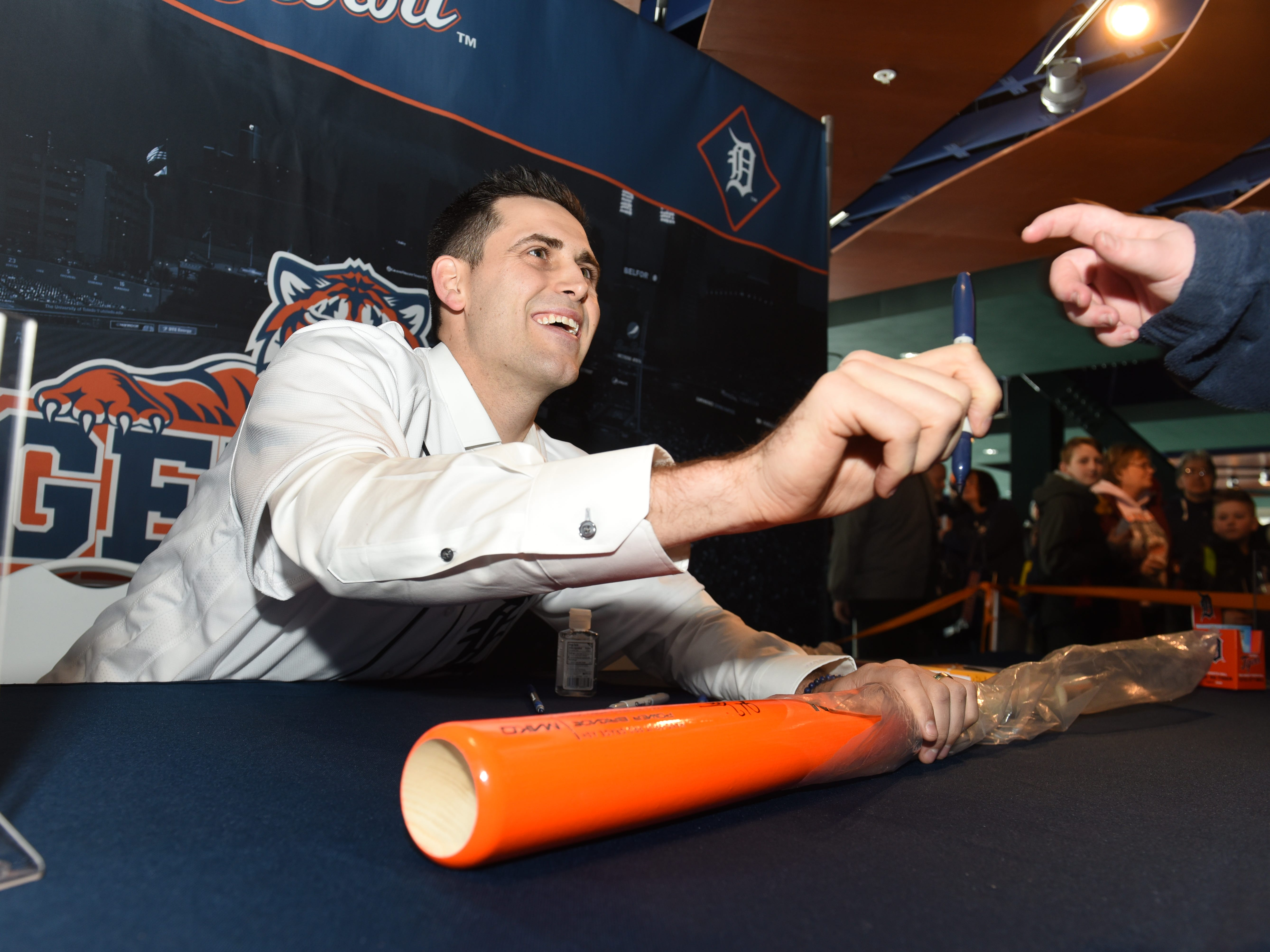 Detroit Tigers pitcher Mathew Boyd signs autographs for fans at Comerica Park for TigerFest on Saturday, January 26, 2019.