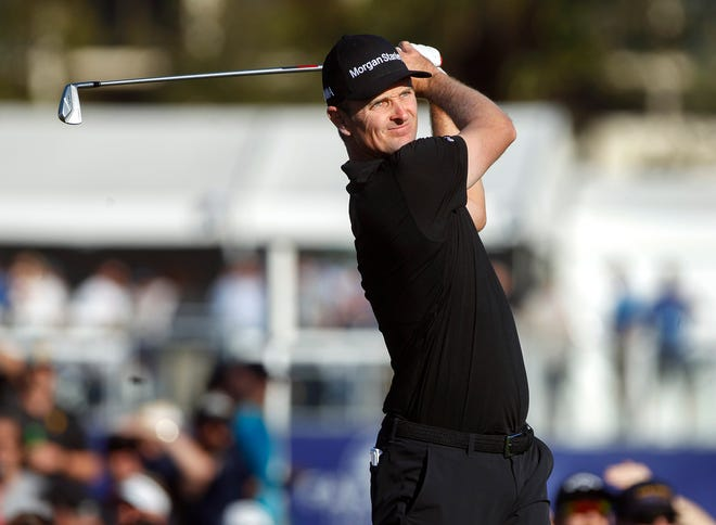 Justin Rose hits from the 16th tee on the South Course.
