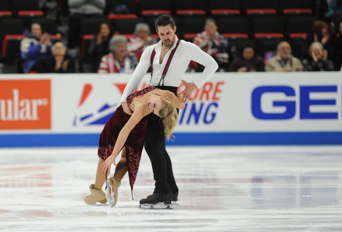 Champions Madison Hubbell and Zachary Donohue perform their rhythm dance program at the U.S. Figure Skating Championships Friday.