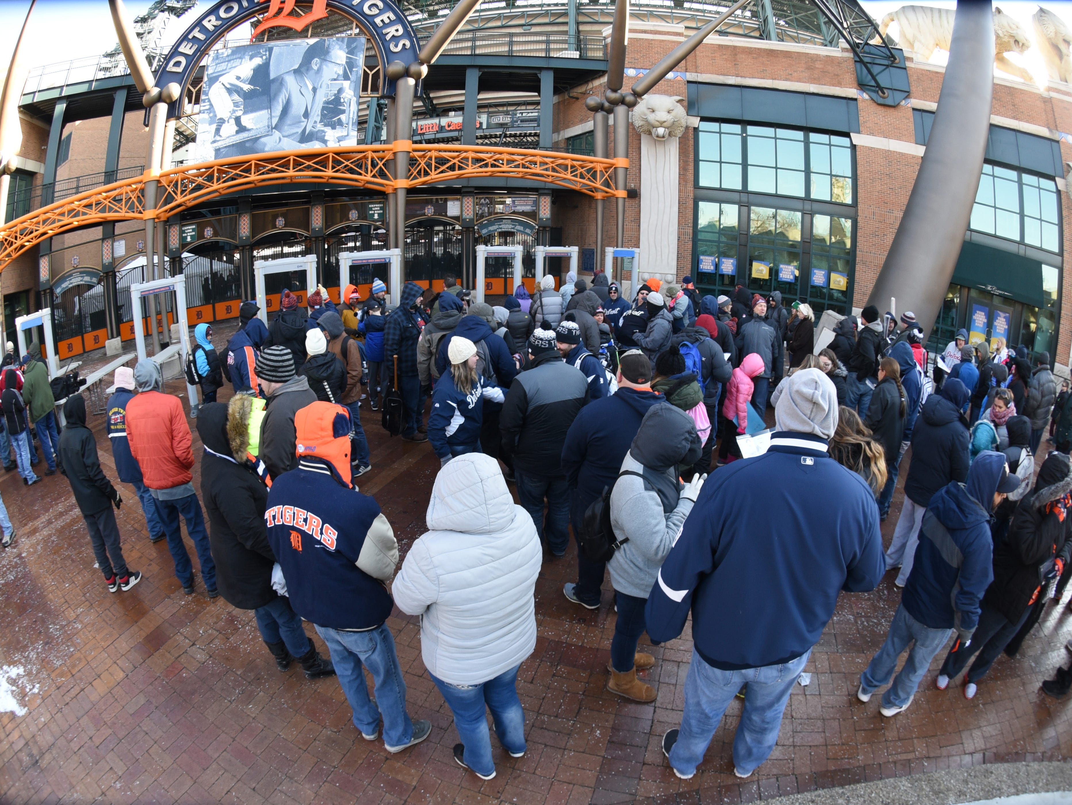 Hundreds line outside Comerica Park for TigerFest on Saturday, January 26, 2019. Max Ortiz, The Detroit News