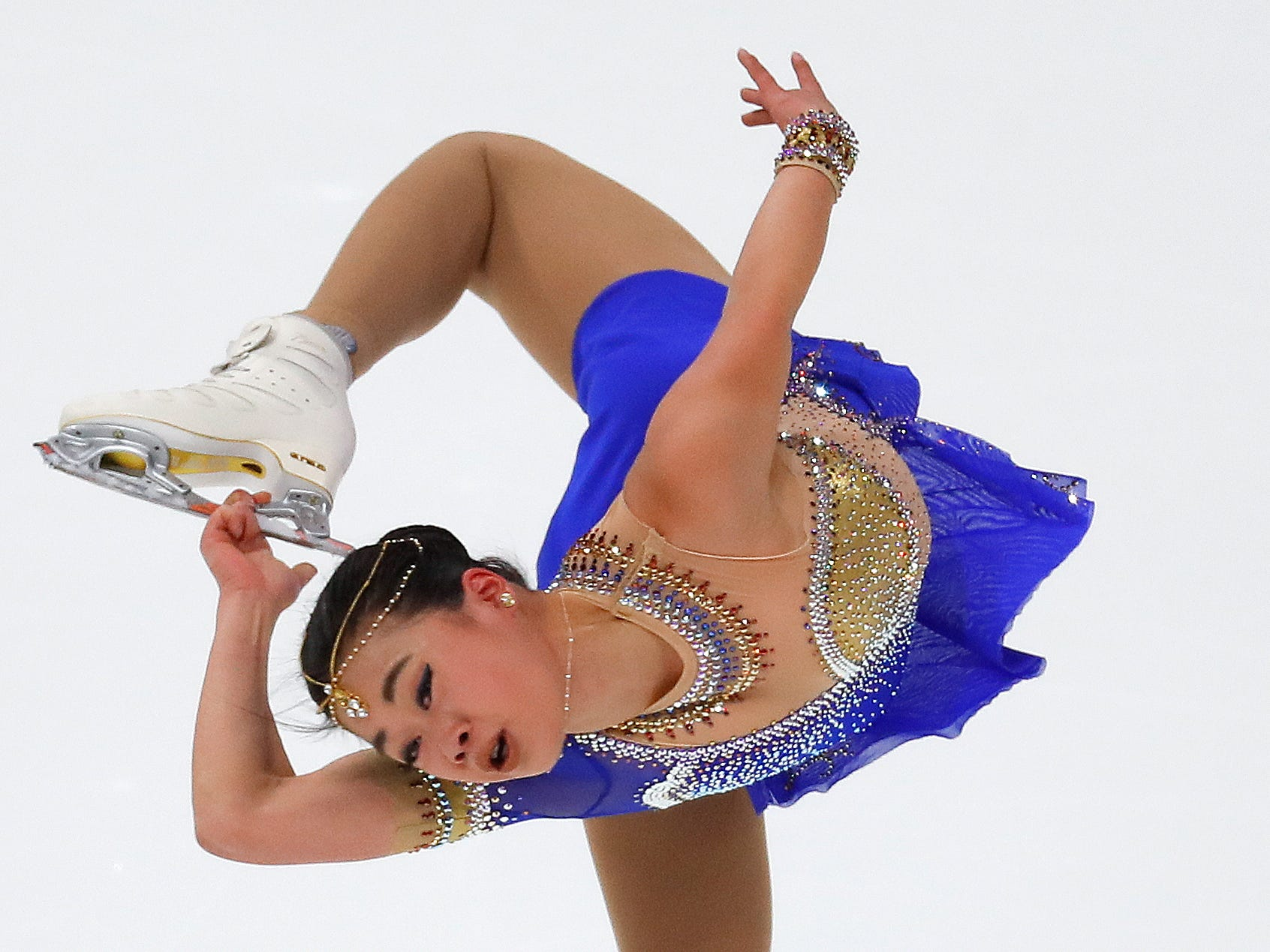 Brynne McIsaac performs during her women's free skate program at the U.S. Figure Skating Championships, Friday, Jan. 25, 2019, in Detroit. (AP Photo/Paul Sancya)