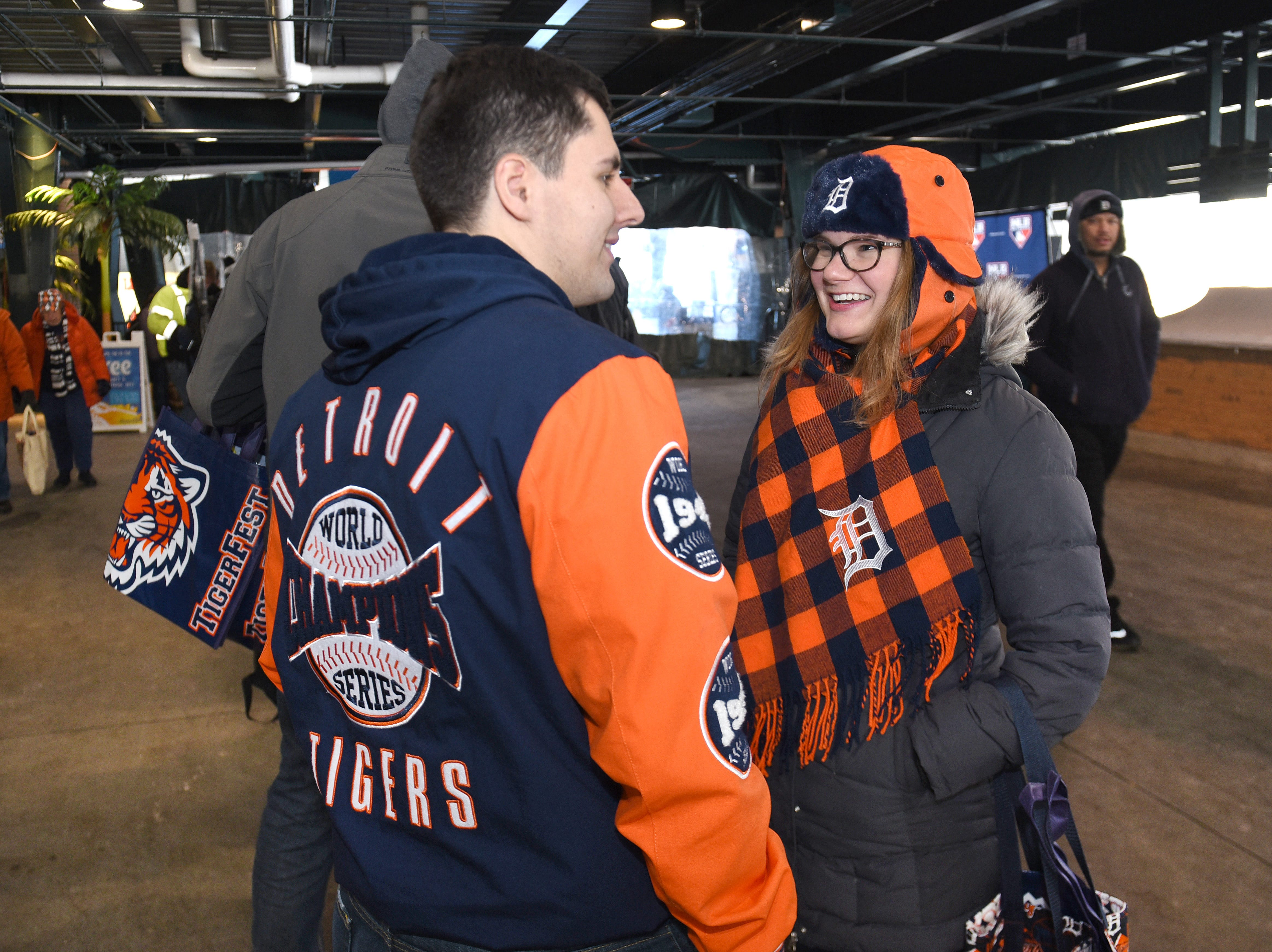 Taylor Dietz (left) and Kayla Jakel line for player autographs at TigerFest 2019 at Comerica Park on Saturday, January 26, 2019.     T