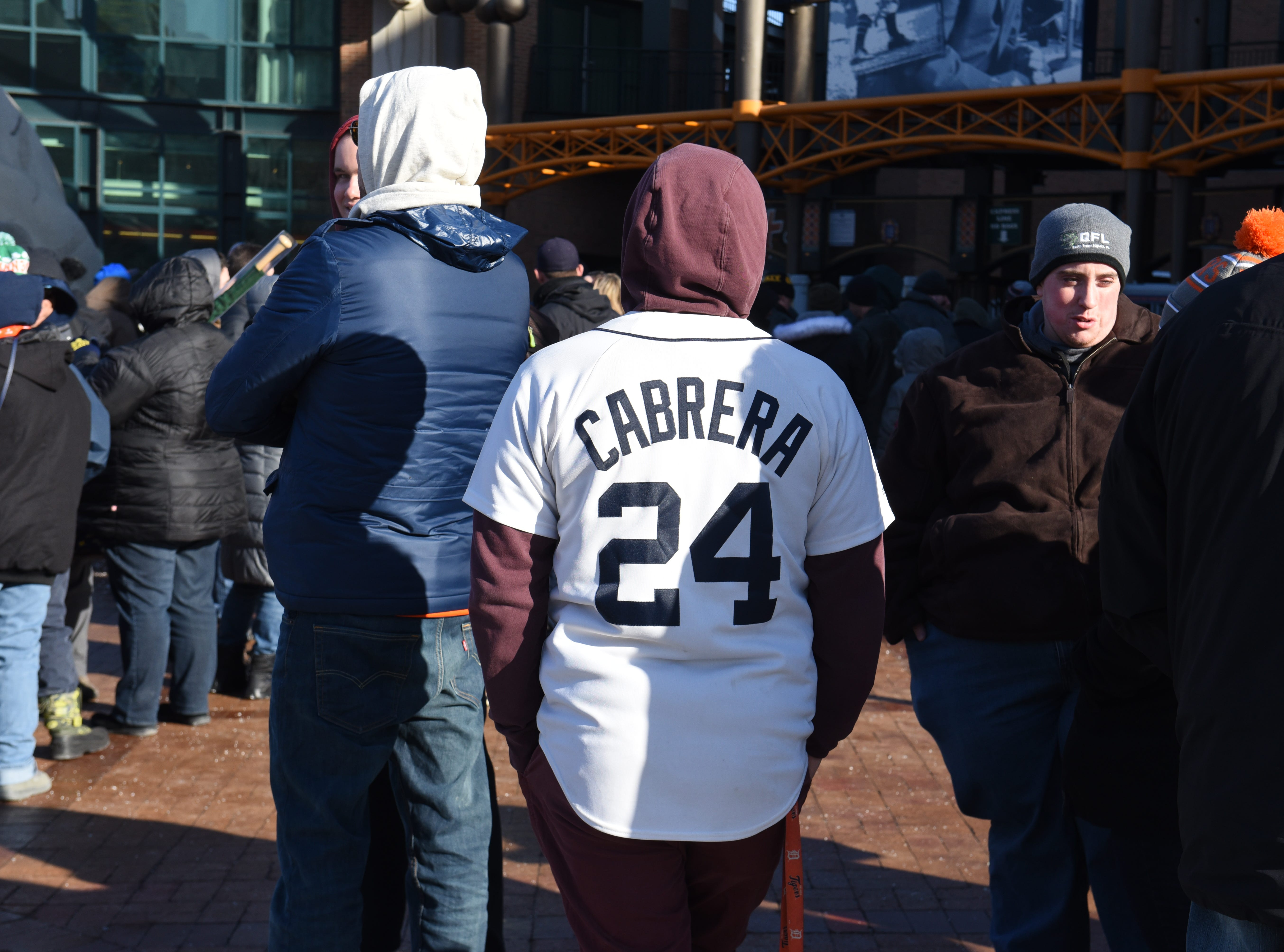 A fan wears his Miguel Cabrera jersey outside Comerica Park for TigerFest 2019 in Detroit on Saturday, January 26, 2019.