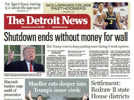 The front page of The Detroit News on Saturday, January 26, 2019.