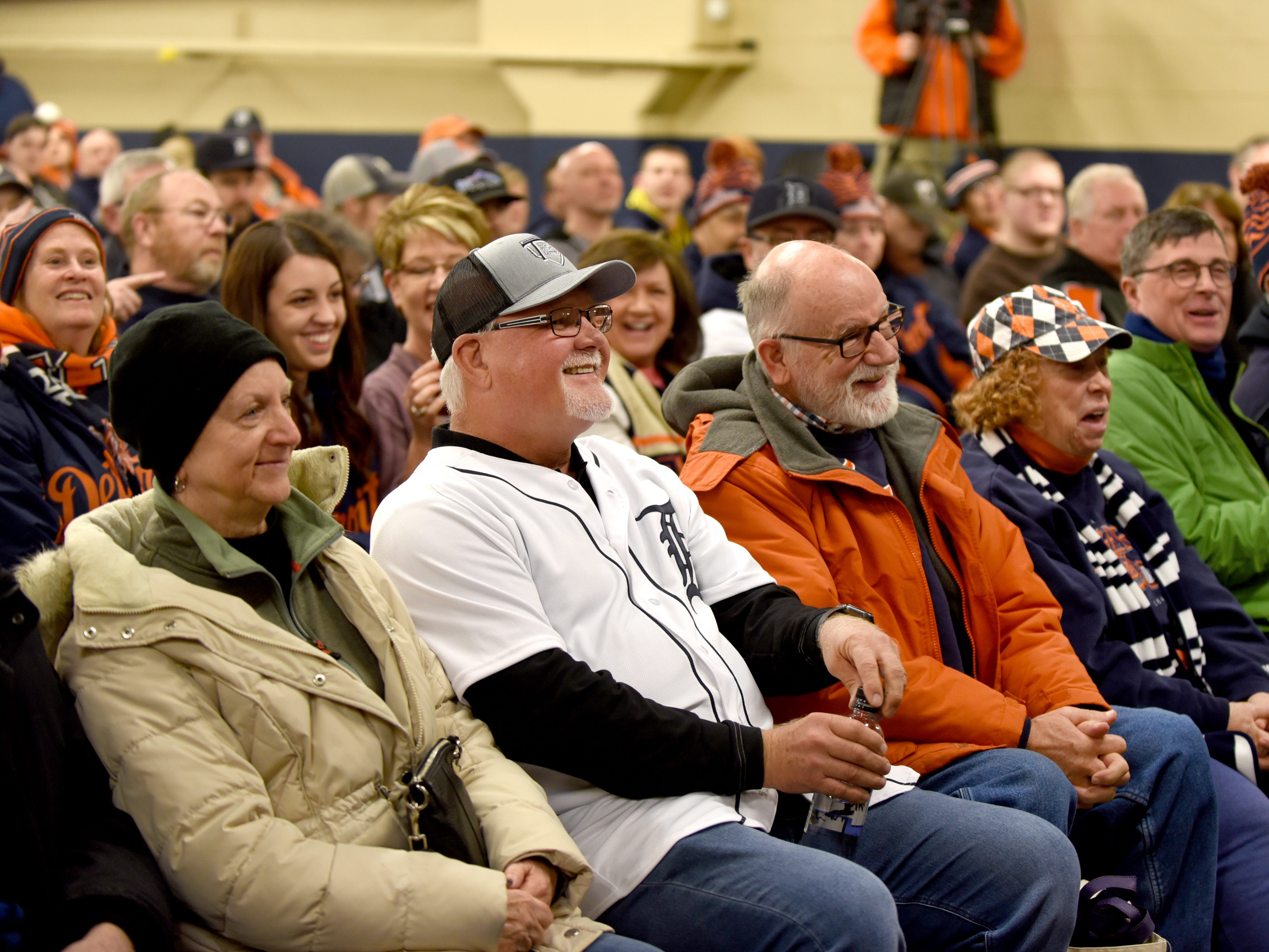 Detroit Tigers head coach Ron Gardenhire sits in the crowd for a moment before taking the main stage for a coaches question and answer session at TigerFest 2019.
