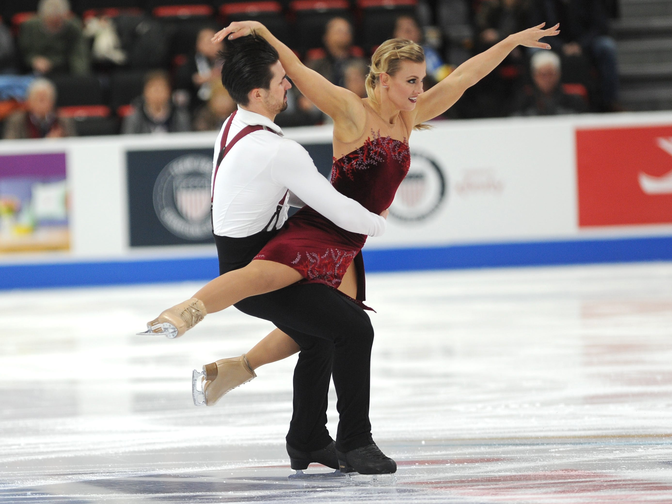 Madison Hubbell and Zachary Donohue perform during the rhythm dance competition.