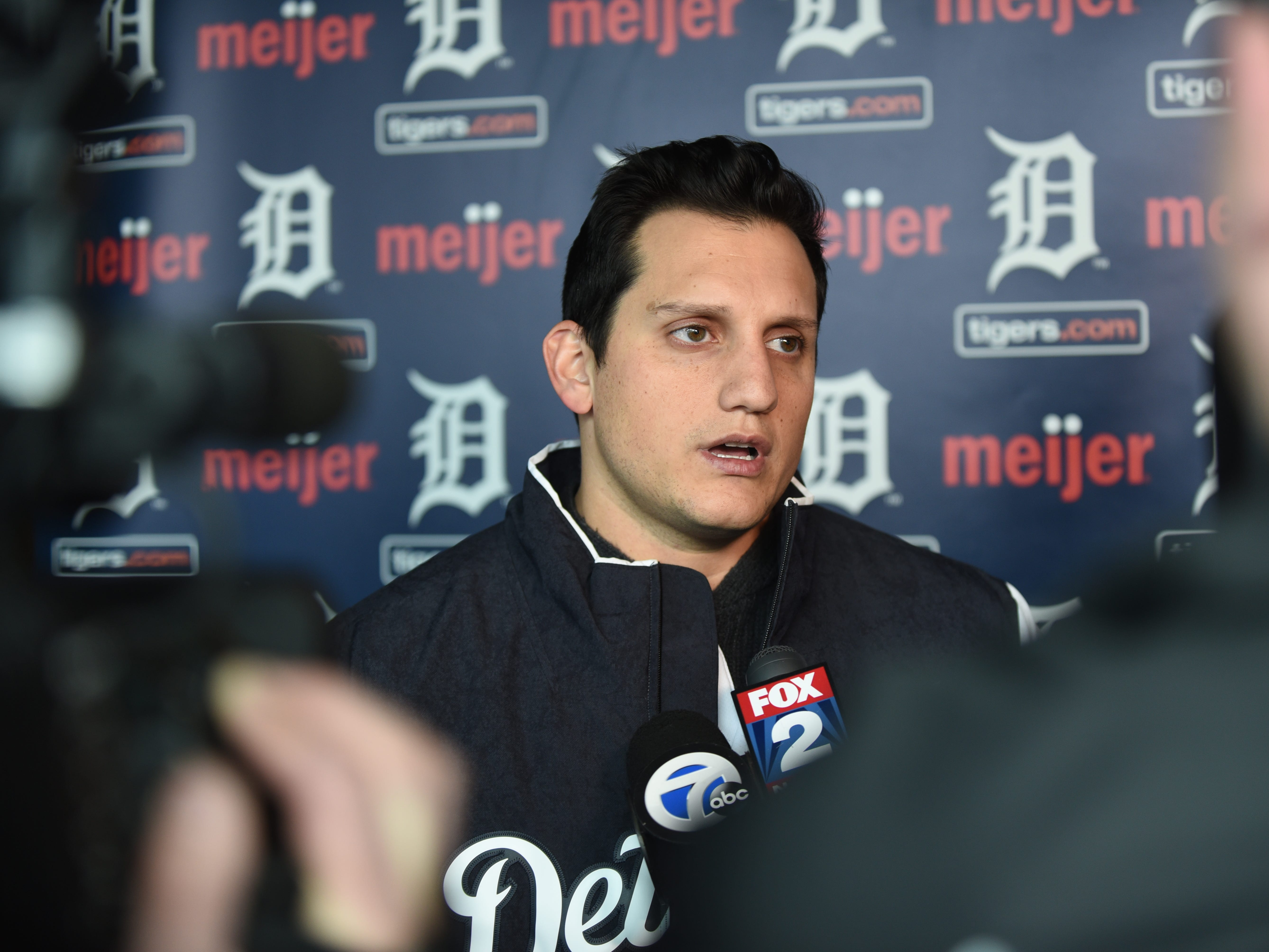 Detroit Tigers outfielder Mikie Mahtook speaks with the news media at Comerica Park for TigerFest on Saturday, January 26, 2019.