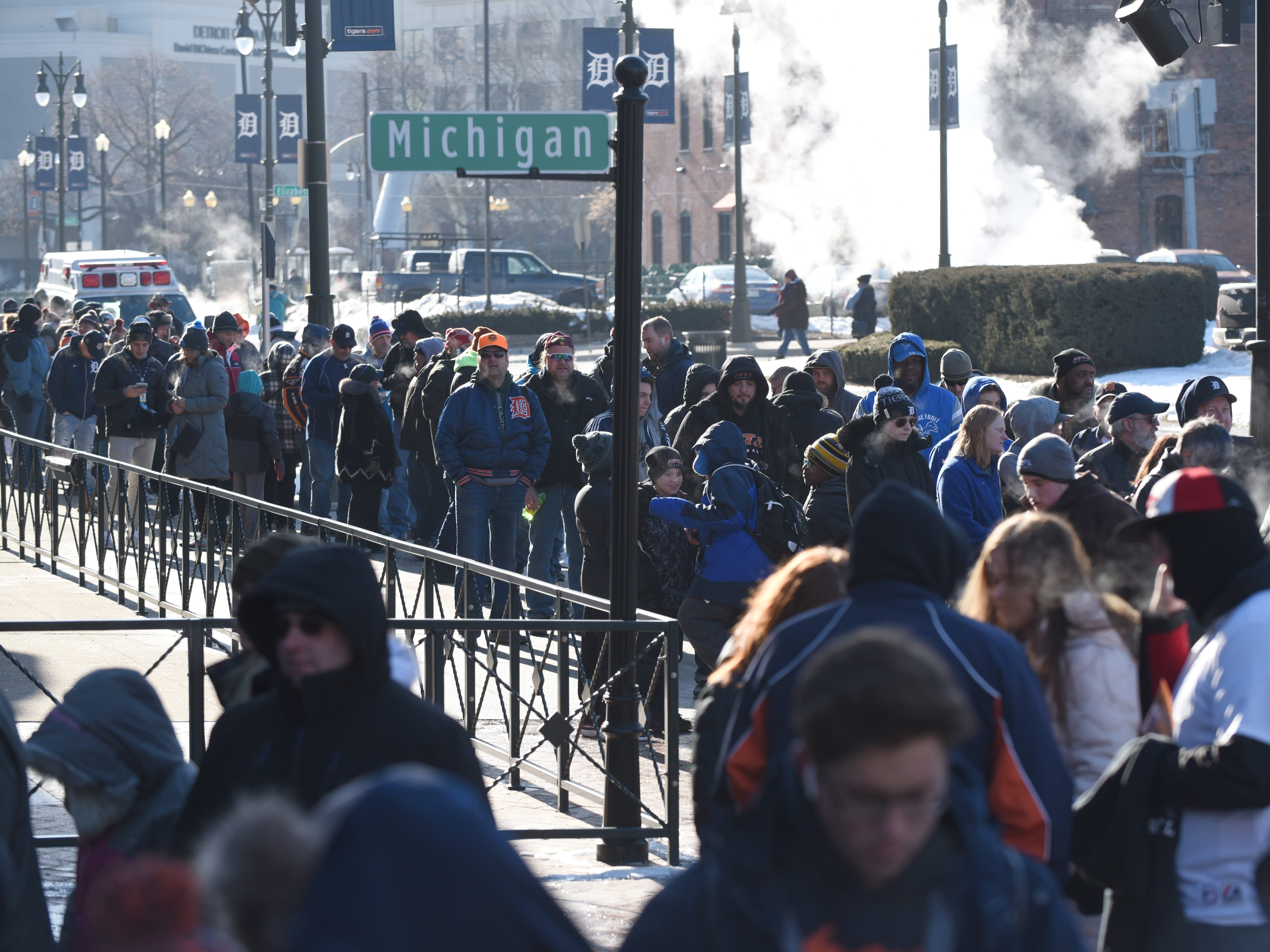 Hundreds line outside Comerica Park for TigerFest on Saturday, January 26, 2019.