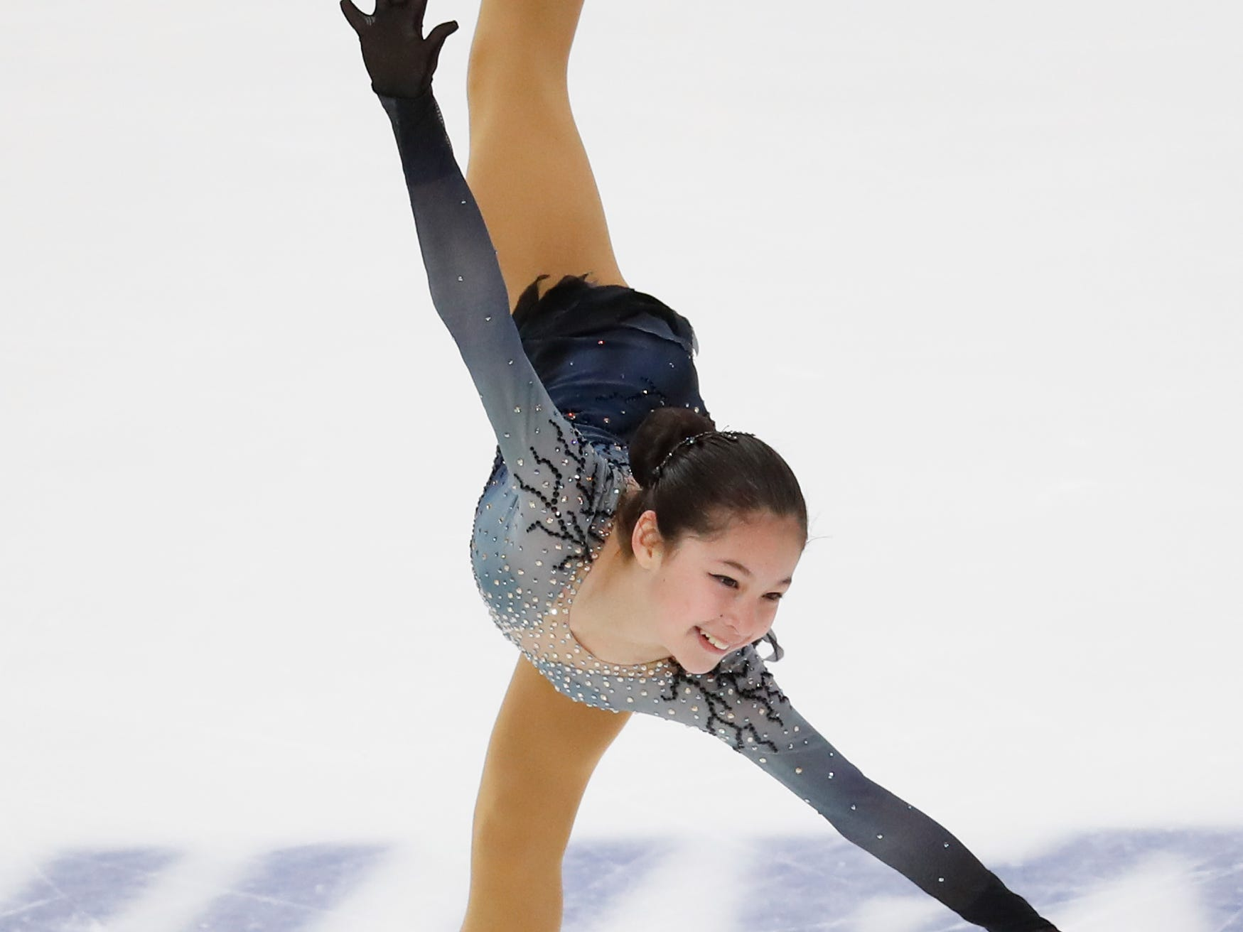 Alysa Liu takes first place in the women's free skate at the U.S. Figure Skating Championships, Friday.