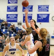 Morgan Gentile of Elmira puts up a shot against Horseheads on Jan. 26, 2019 at Horseheads Middle School.