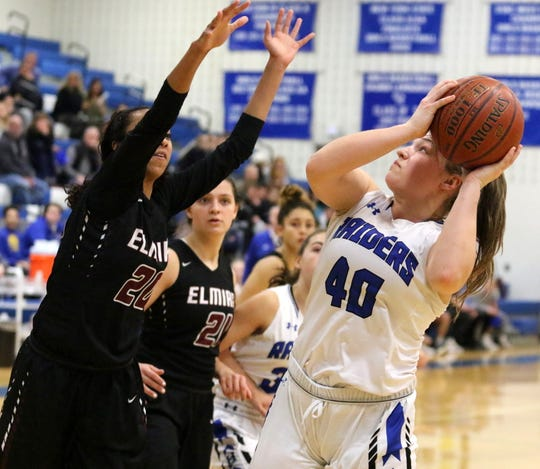 Tess Cites of Horseheads looks for room to shoot as Zaria DeMember-Shazer of Elmira defends Jan. 26, 2019 at Horseheads Middle School.