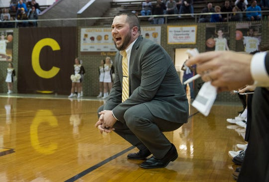 Central Head Coach Rodney Walker screams plays from the sideline during the second half of the Central vs Reitz basketball game at Central High School Friday, Jan. 25, 2019.