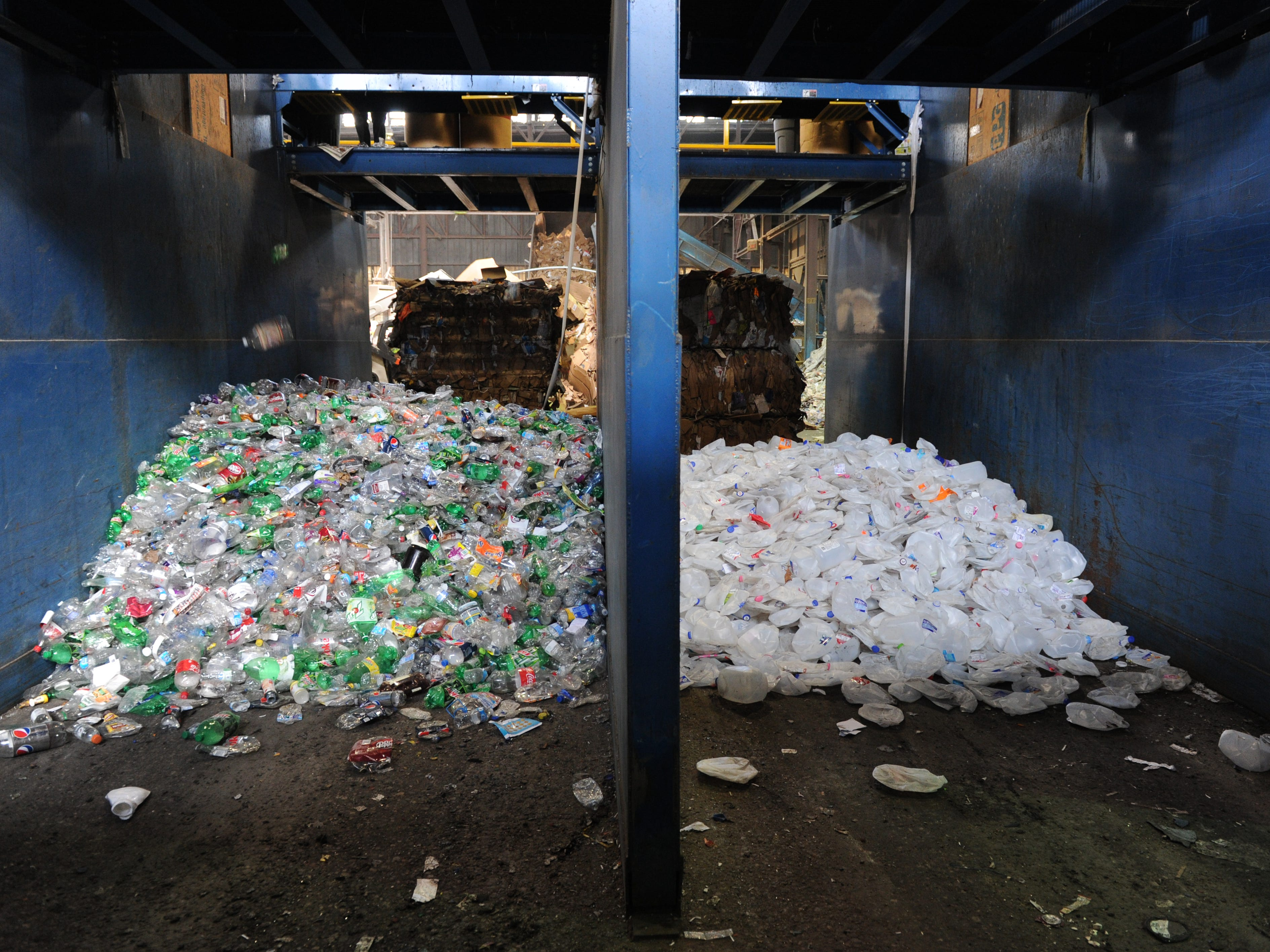 Separated plastics are seen at  Tri-State Resource Recovery in Evansville, Ind., on Feb. 21, 2014.