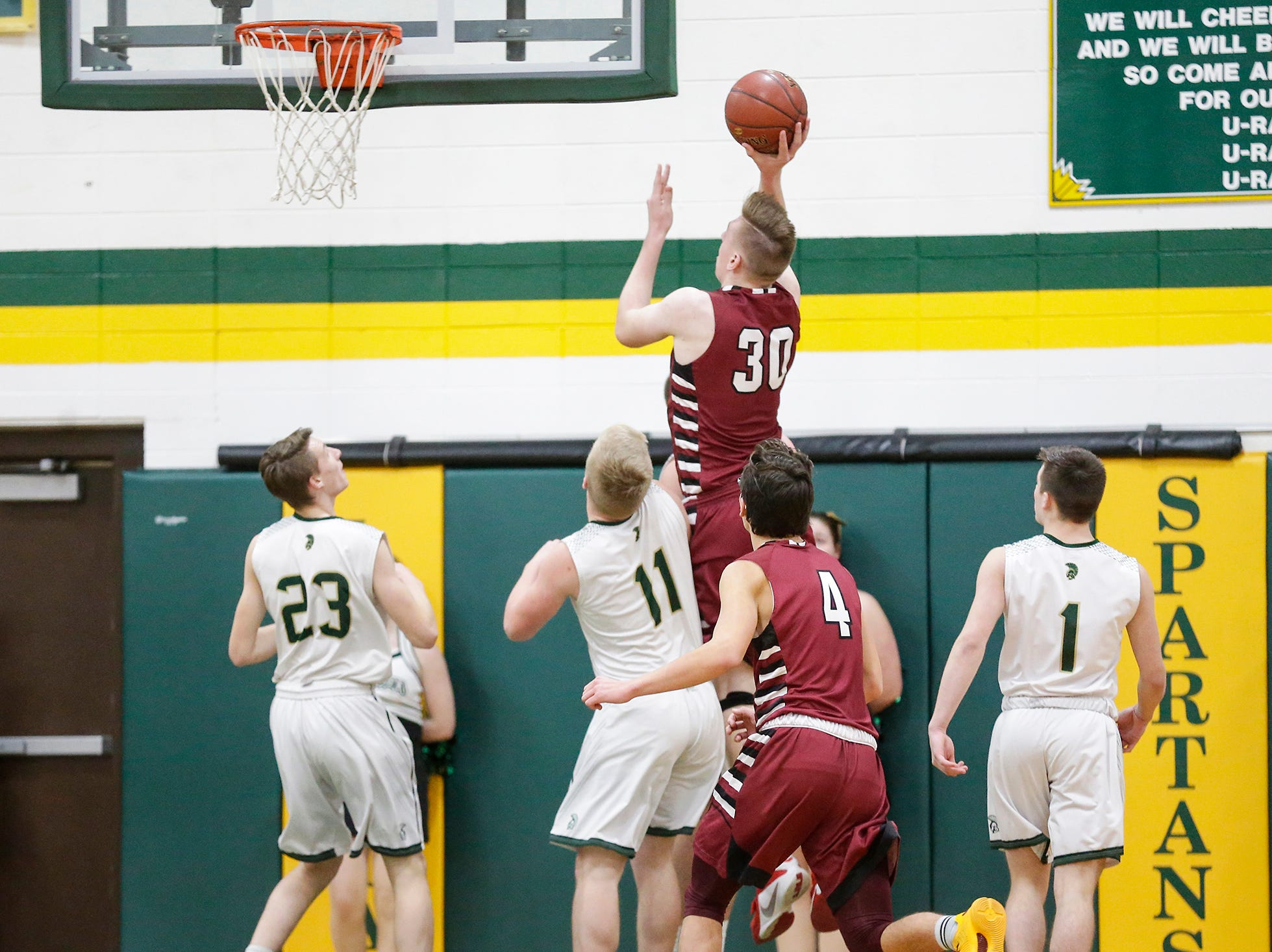 Mayville High School boys basketball's Logan Arroyo goes up for a basket against Laconia High School during their game Friday, January 25, 2019 in Rosendale. Laconia won the game 80-54. Doug Raflik/USA TODAY NETWORK-Wisconsin