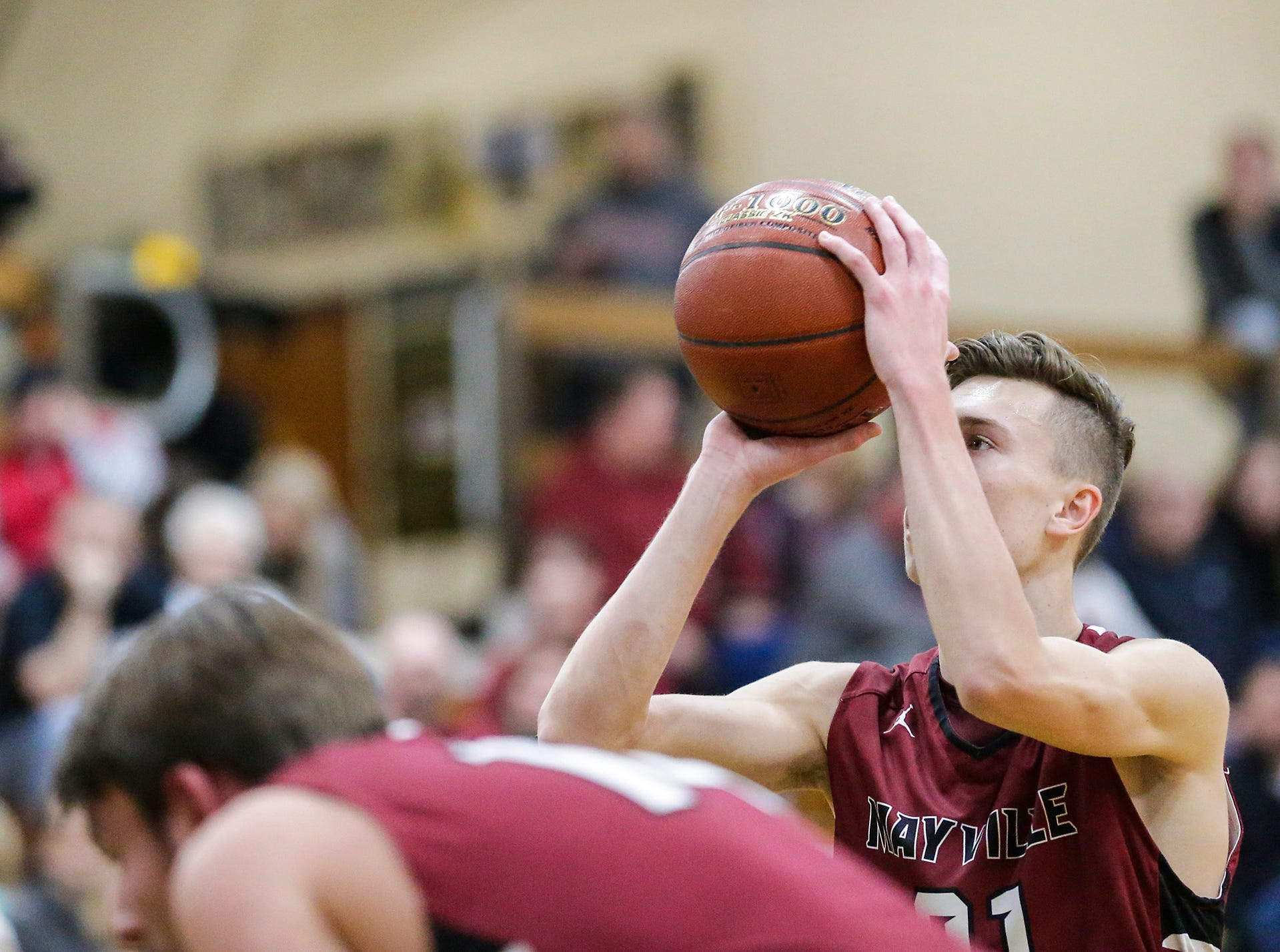 Mayville High School boys basketball's Jackson Mittelstadt throws a free throw against Laconia High School during their game Friday, January 25, 2019 in Rosendale. Laconia won the game 80-54. Doug Raflik/USA TODAY NETWORK-Wisconsin