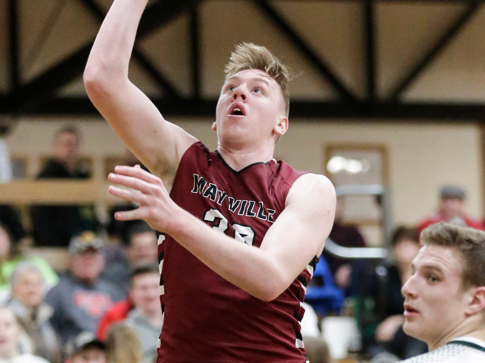 Mayville High School boys basketball's Logan Arroyo goes up for a shot against Laconia High School during their game Friday, January 25, 2019 in Rosendale. Laconia won the game 80-54. Doug Raflik/USA TODAY NETWORK-Wisconsin