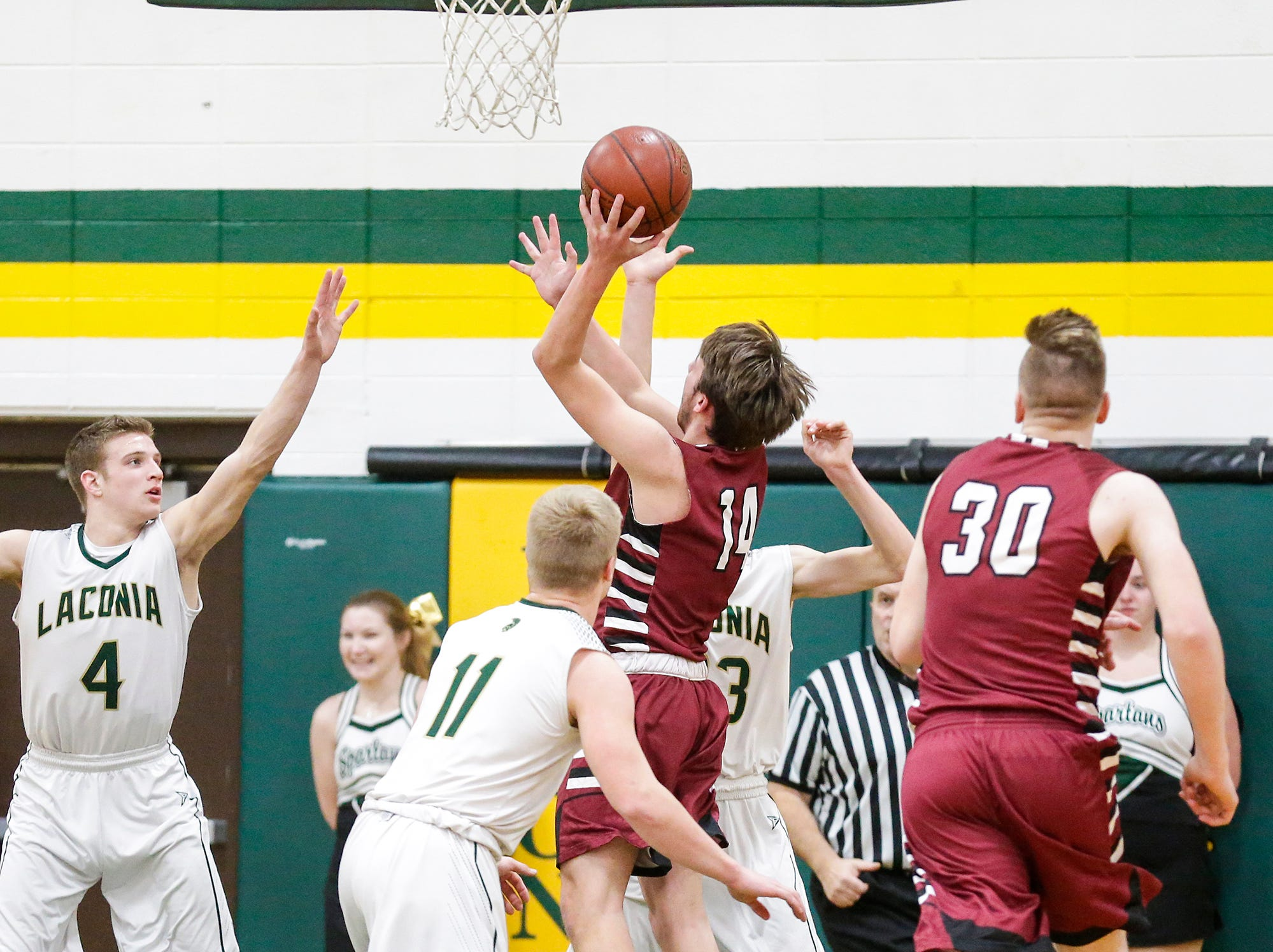 Mayville High School boys basketball's Tyler Gutjahr goes up for a basket against Laconia High School during their game Friday, January 25, 2019 in Rosendale. Laconia won the game 80-54. Doug Raflik/USA TODAY NETWORK-Wisconsin
