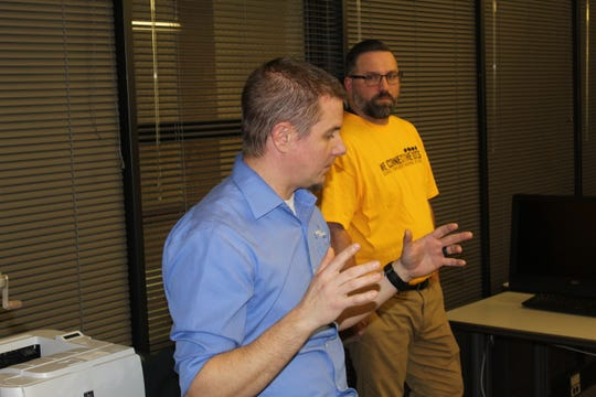 Andy Horn, an engineering manager with Motion Controls Robotics, spoke to students at the annual Code-A-Thon, held at Terra State Community College.