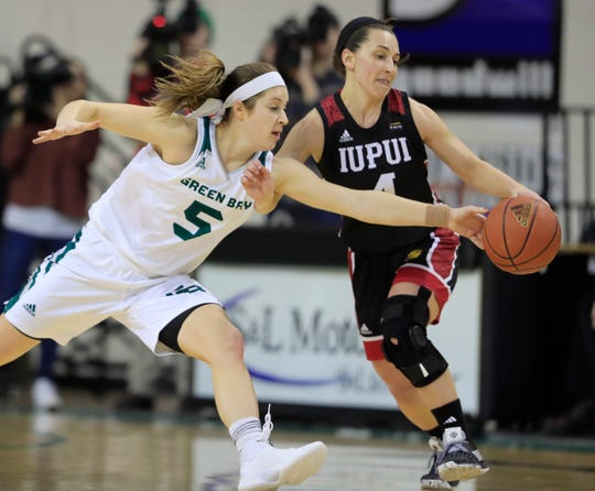 IUPUI guard Holly Hoopingarner's (4) friendship with DePaul transfer Rachel McLimore helped bring the former Blue Demons guard back home to Indiana.