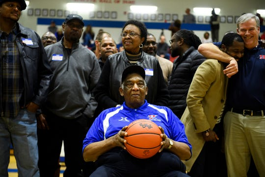 Former Riverside basketball coach Louie Golden is honored by several of his former players and colleagues on Friday, Jan. 25 2019 at Riverside High School.