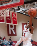 Greenville High School's Trinity Franklin (25) scores the basket that brings her team to lead 62-61 in their home game against Blue Ridge High School Friday, Jan. 25, 2019.