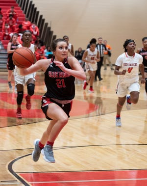 Blue Ridge junior Abby King (21), shown in an earlier game, scored 14 points Friday against South Pointe in a second-round game of the Class AAAA playoffs.