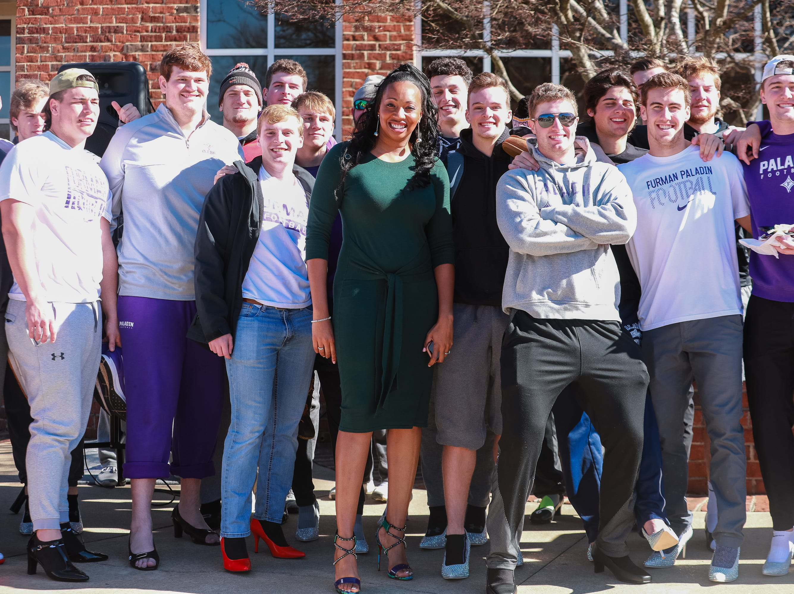 "Furman University hosted the ""Walk a Mile in Her Shoes"" march on Saturday, January 26, 2019 before the women's basketball team's game against Wofford."