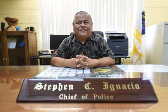 Guam Police Department Chief of Police Steve C. Ignacio at his office in Tiyan, Jan. 25, 2019.