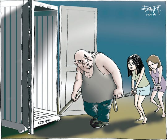 sunday cartoon on human trafficking